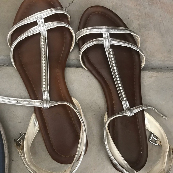 Aldo Shoes - ALDO silver gladiator sandals with rhinestones